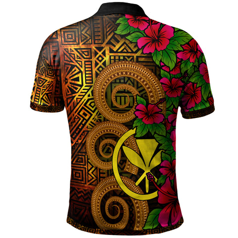 Image of Hawaii Polynesian Polo Shirt - Hibiscus Vintage - BN12