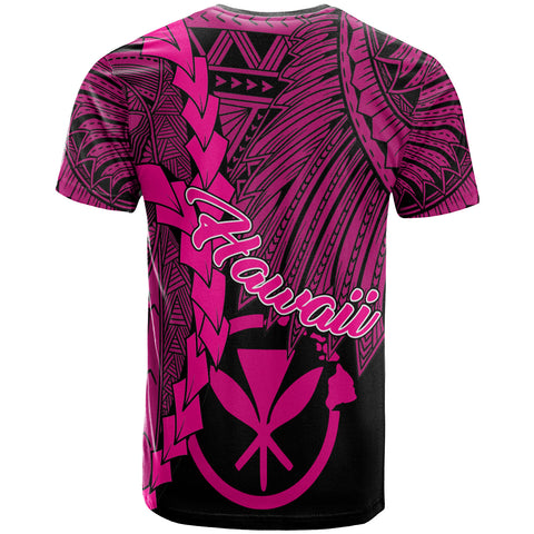 Hawaii Polynesian T-Shirt - Tribal Wave Tattoo Pink - BN12