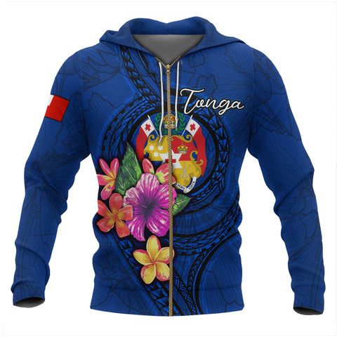 Tonga Polynesian Zip-Up Hoodie - Floral With Seal Blue