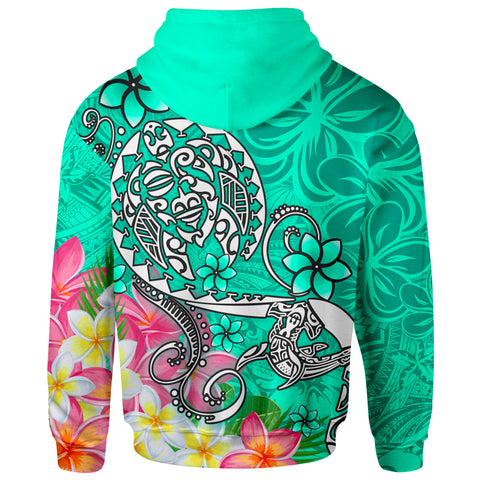 Polynesian Hoodie - Turtle Plumeria Turquoise Color - BN18