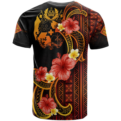 Image of Tonga T-Shirt - Hibiscus Plumeria Mix Tribal Leaves - BN11