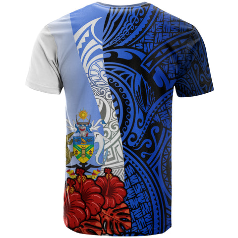 Solomon Islands Polynesian T-shirt - Coat Of Arm With Hibiscus Blue - BN12