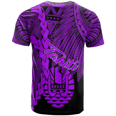 Tahiti Polynesian Custom Personalised T-Shirt - Tribal Wave Tattoo Purple - BN12