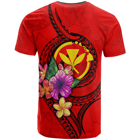 Hawaii Polynesian Custom Personalised T-shirt - Floral With Seal Red - BN12