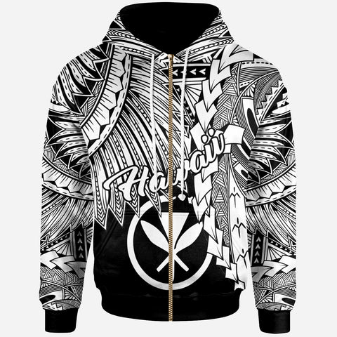 Polynesian Hawaii Zip-Up Hoodie - Tribal Wave Tattoo White