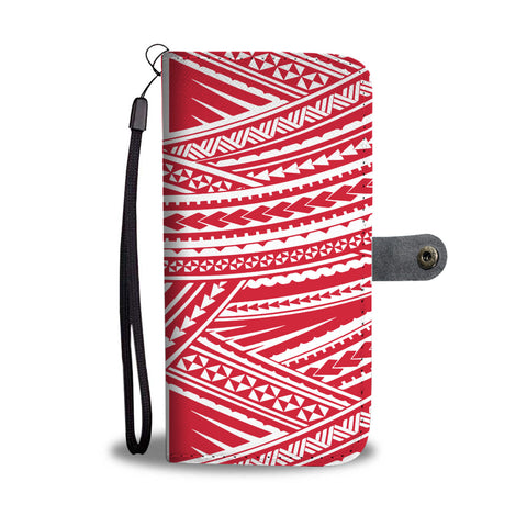 Polynesian Wallet Phone Case - White Red Version Front
