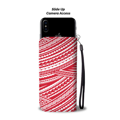 Polynesian Wallet Phone Case - White Red Version Back