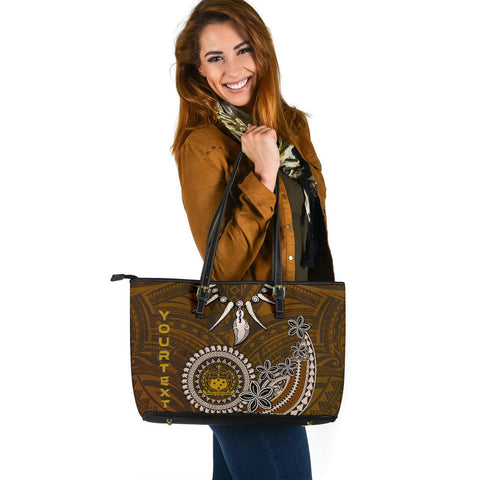 Samoa Custom Personalised Large Leather Tote - Polynesian Boar Tusk - BN39