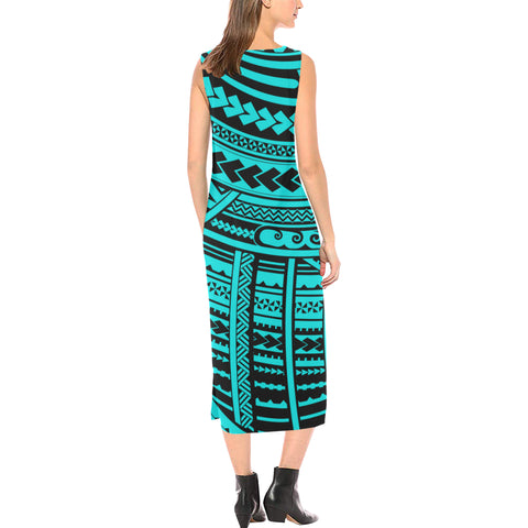 Polynesian Tribal Phaedra Sleeveless Open Fork Long Dress - Blue Version - BN12