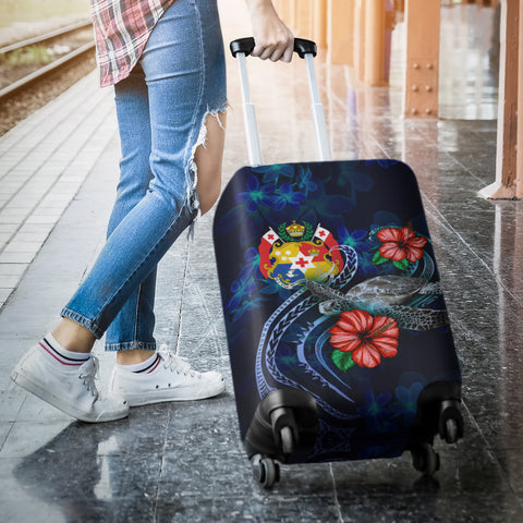 Image of Tonga Polynesian Luggage Cover - Blue Turtle Hibiscus - BN12
