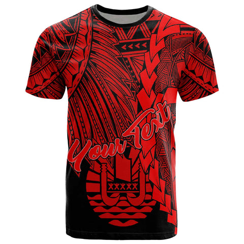 Tahiti Polynesian Custom Personalised T-Shirt - Tribal Wave Tattoo Red