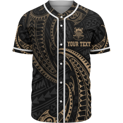 Image of Tuvalu Polynesian Custom Personalised Baseball Shirt - Gold Tribal Wave