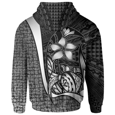 Polynesian Hawaii Custom Personalised Zip-Up Hoodie Kanaka Maoli White - Turtle with Hook