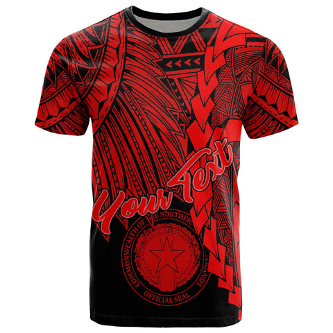 Northern Mariana Islands Polynesian Custom Personalised T-Shirt - Tribal Wave Tattoo Red