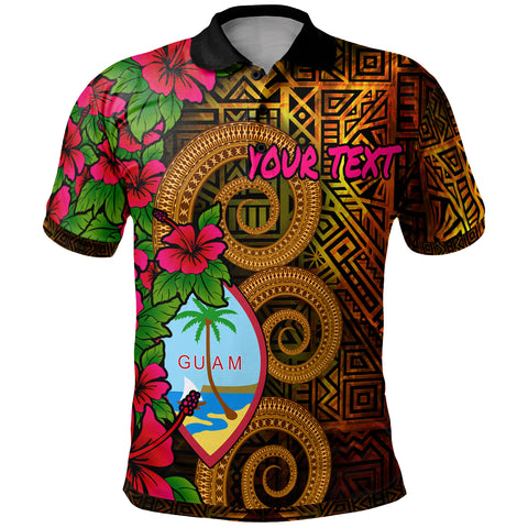 Image of Guam Polynesian Custom Personalised Polo Shirt - Hibiscus Vintage