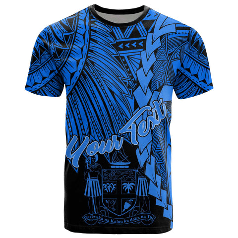 Fiji Polynesian Custom Personalised T-Shirt - Tribal Wave Tattoo Blue