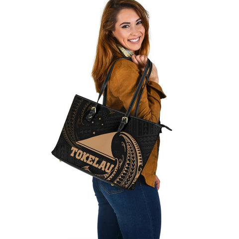 Tokelau Polynesian Leather Tote Bag - Gold Tribal Wave - BN12