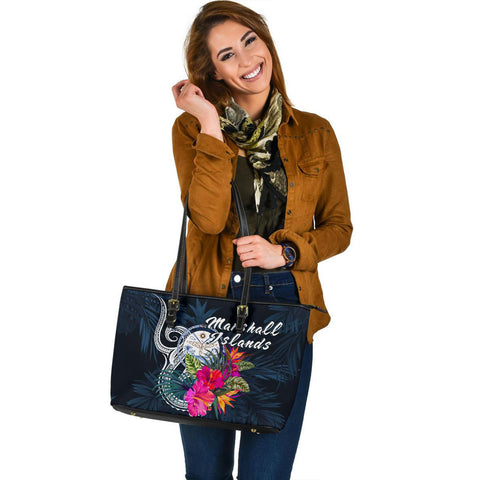 Marshall Islands Polynesian Large Leather Tote - Tropical Flower
