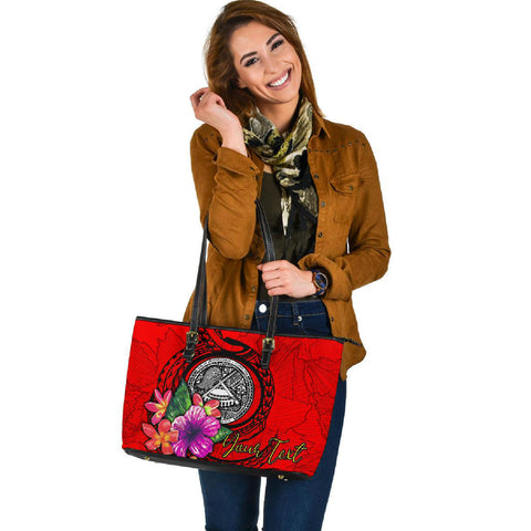 American Samoa Polynesian Custom Personalised Large Leather Tote - Floral With Seal Red