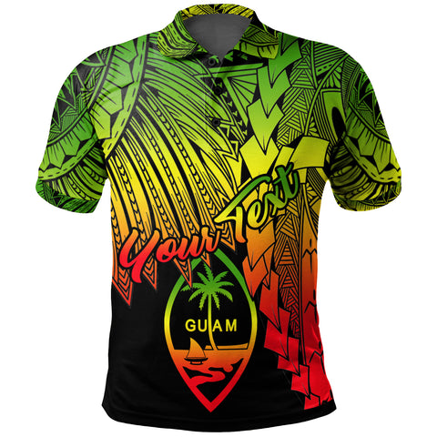 Image of Guam Polynesian Custom Personalised Polo - Tribal Wave Tattoo Reggae