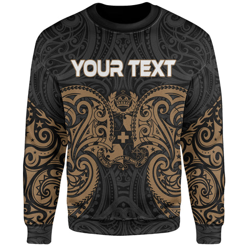 Tonga Polynesian Custom Personalised Sweater - Spirit Style Gold