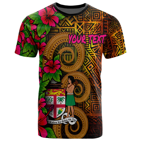 Image of Fiji Polynesian Custom Personalised T-Shirt - Hibiscus Vintage