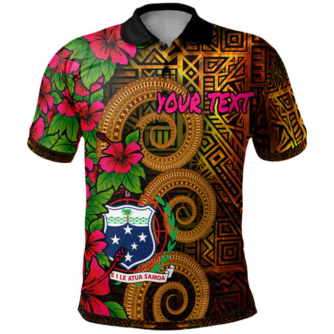 Image of Samoa Polynesian Custom Personalised Polo Shirt - Hibiscus Vintage