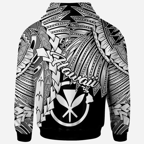 Polynesian Hawaii Zip-Up Hoodie - Tribal Wave Tattoo White - BN12