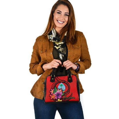 Guam Polynesian Shoulder Handbag - Floral With Seal Red - BN12