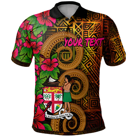 Image of Fiji Polynesian Custom Personalised Polo Shirt - Hibiscus Vintage