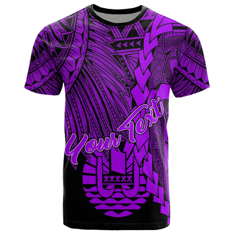 Tahiti Polynesian Custom Personalised T-Shirt - Tribal Wave Tattoo Purple