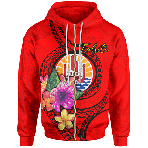 Image of Tahiti Polynesian Zip-Up Hoodie - Floral With Seal Red