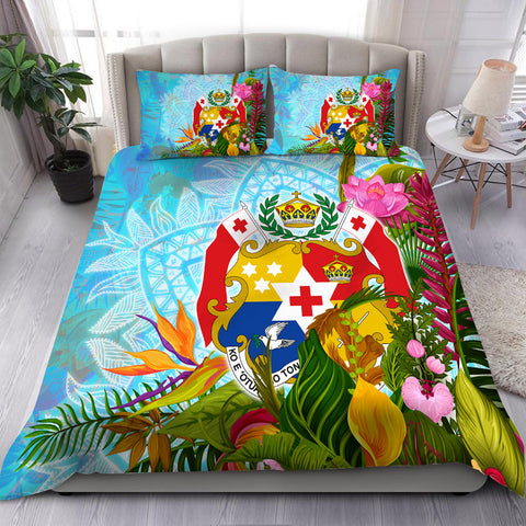 Image of Tonga Bedding Set - Tropical Flowers Boho Style
