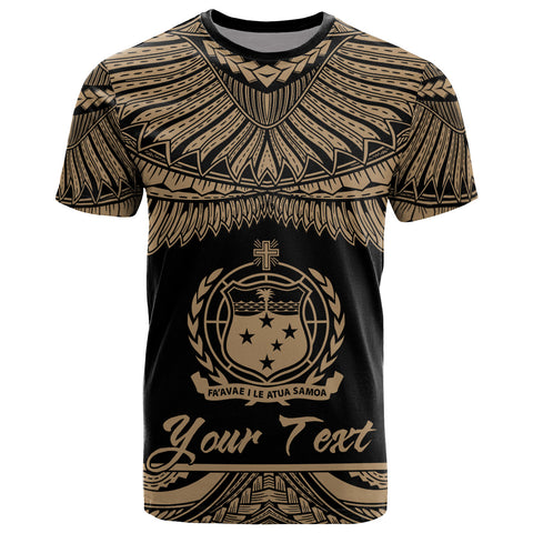 Image of Samoa Polynesian Custom Personalised T-Shirt - Samoan Pride Gold Version