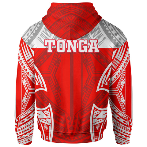 Tonga Polynesian Zip-Up Hoodie - Pattern With Seal Red Version - BN12