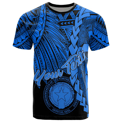 Image of Northern Mariana Islands Polynesian Custom Personalised T-Shirt - Tribal Wave Tattoo Blue