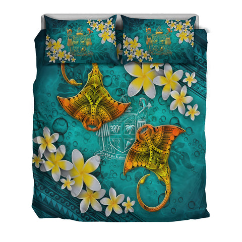 Image of Fiji Polynesian Bedding Set - Manta Ray Ocean - BN12