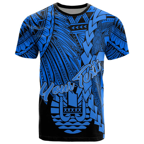 Tahiti Polynesian Custom Personalised T-Shirt - Tribal Wave Tattoo Blue