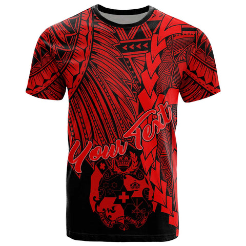 Tonga Polynesian Custom Personalised T-Shirt - Tribal Wave Tattoo Red