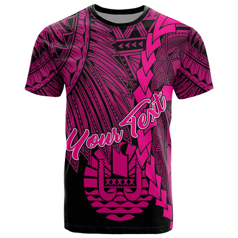 Tahiti Polynesian Custom Personalised T-Shirt - Tribal Wave Tattoo Pink
