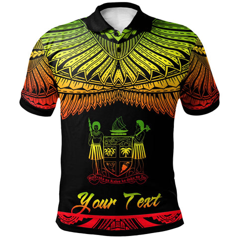 Fiji Polynesian Custom Personalised Polo Shirt - Poly Tattoo Reggae Version