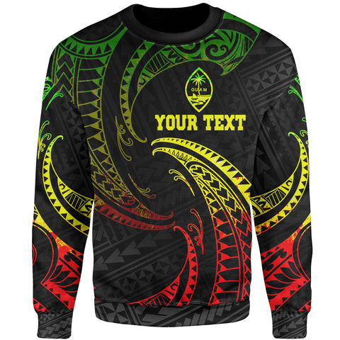 Guam Polynesian Custom Personalised Sweater - Reggae Tribal Wave