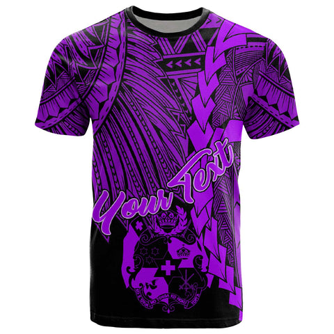 Tonga Polynesian Custom Personalised T-Shirt - Tribal Wave Tattoo Purple