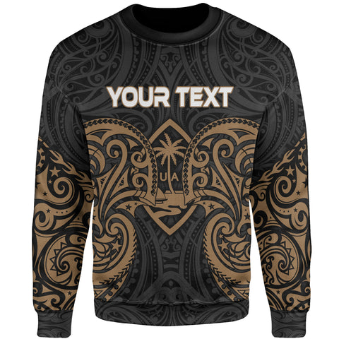 Guam Polynesian Custom Personalised Sweater - Spirit Style Gold