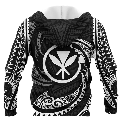 Hawaii Polynesian Custom Personalised Zip-Up Hoodie - White Tribal Wave - BN12