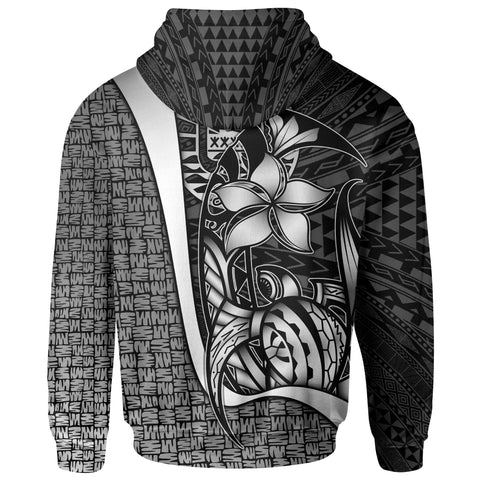 Image of Tahiti Polynesian Zip-Up Hoodie White - Turtle with Hook