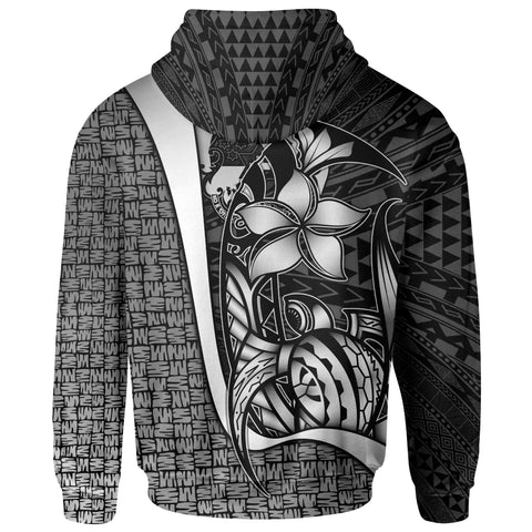 Tonga Polynesian Zip-Up Hoodie White - Turtle with Hook
