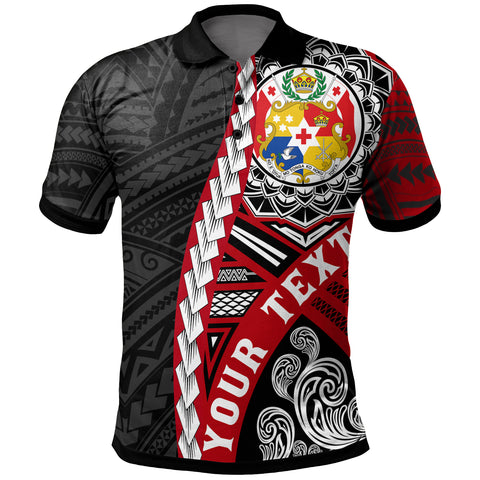 Tonga Polynesian Custom Personalised Polo Shirt - Wave Tattoo