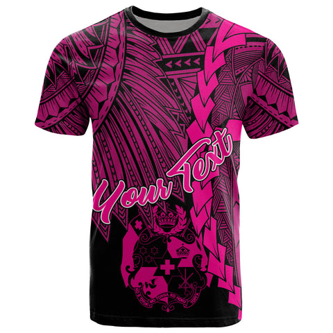Tonga Polynesian Custom Personalised T-Shirt - Tribal Wave Tattoo Pink