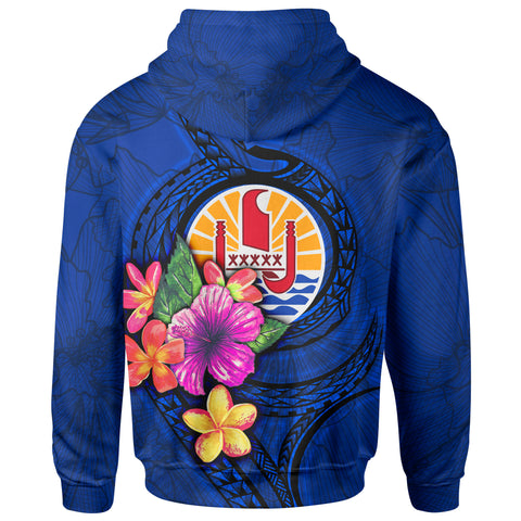Tahiti Polynesian Zip-Up Hoodie - Floral With Seal Blue - BN12